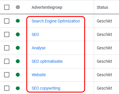 advertentiegroep Google Ads